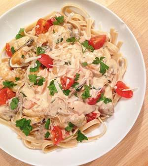 Recipe for tagliatelle Pangasius Frutti de Mare