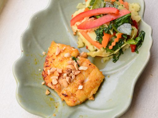 Green mango salad with char grilled panga fish