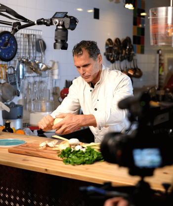 Chef Mark preparing one of the pangasius dishes during the video shooting –Your everyday fish